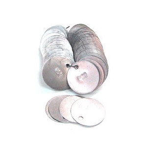 "ALUMINUM Disc Tags Plain 1.5"" (100 pack)"