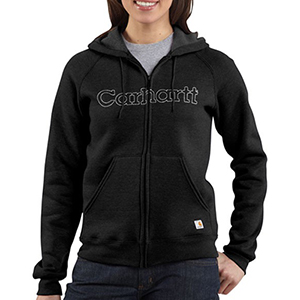 CARHARTT WK012 Woman's Mid wt Zip-Front Logo Hooded Sweatshirt